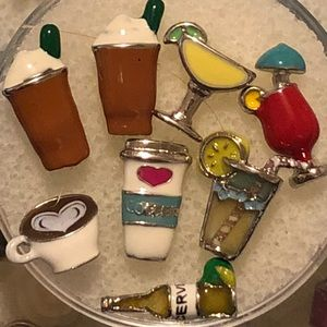 Origami Owl assorted beverage floating charms